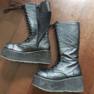 Trashville lace up platform boots vegan leather